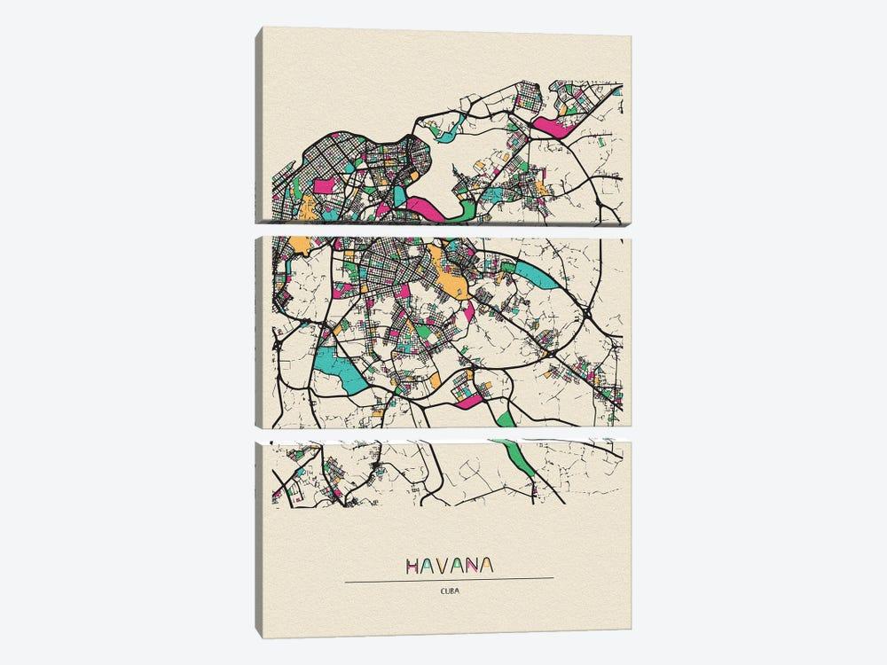 Havana, Cuba Map by Ayse Deniz Akerman 3-piece Canvas Art Print
