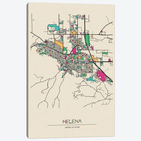 Helena, Montana Map Canvas Print #ADA255} by Ayse Deniz Akerman Art Print