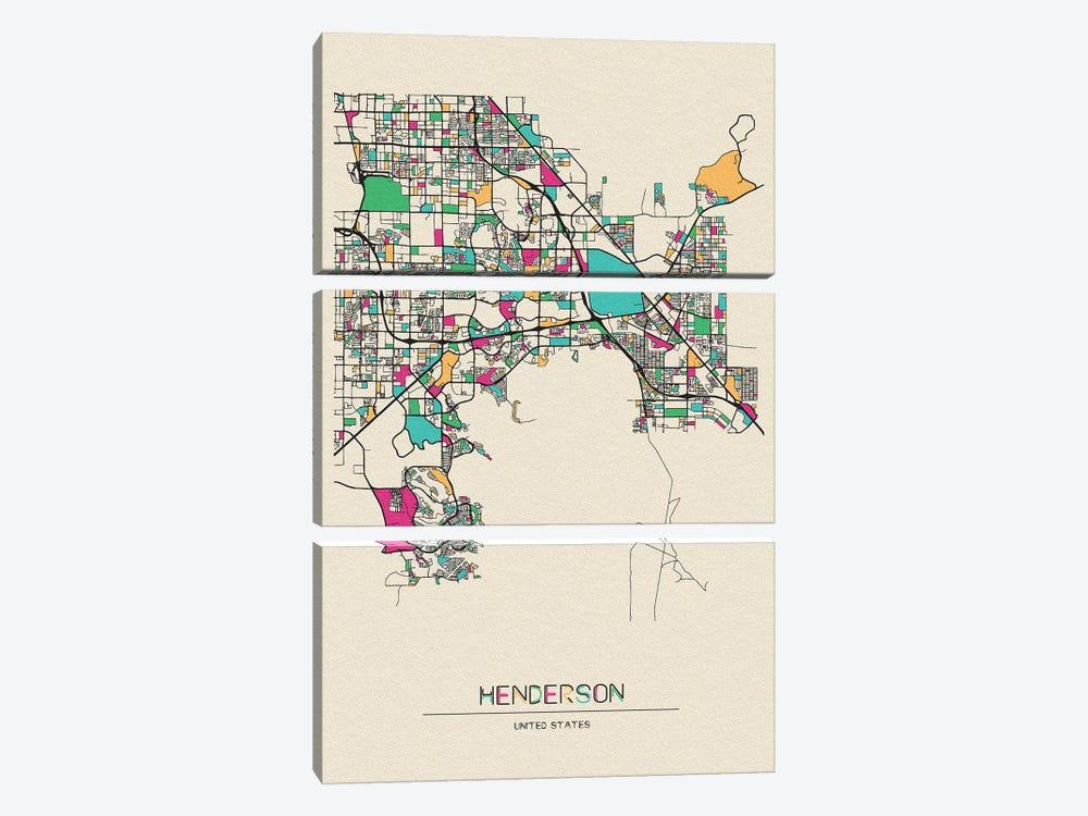 Henderson, Nevada Map by Ayse Deniz Akerman 3-piece Canvas Wall Art