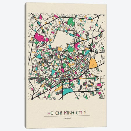 Ho Chi Minh City, Vietnam Map Canvas Print #ADA258} by Ayse Deniz Akerman Canvas Wall Art