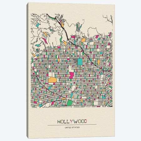 Hollywood, Los Angeles Map Canvas Print #ADA259} by Ayse Deniz Akerman Canvas Artwork