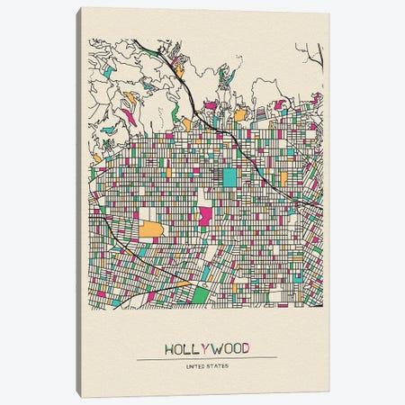 Hollywood, Los Angeles Map Canvas Print #ADA259} by Ayse Deniz Akerman Canvas Artwork