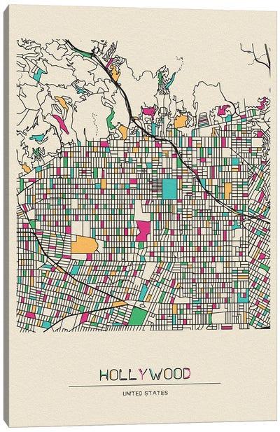 Hollywood, Los Angeles Map Canvas Art Print