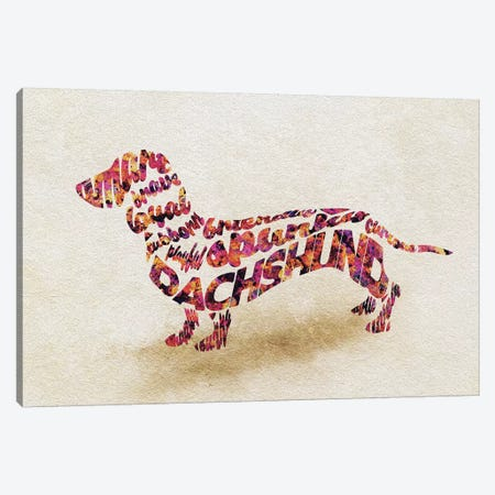 Dachshund Canvas Print #ADA25} by Ayse Deniz Akerman Canvas Artwork