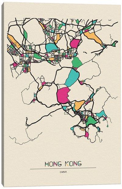 Hong Kong, China Map Canvas Art Print