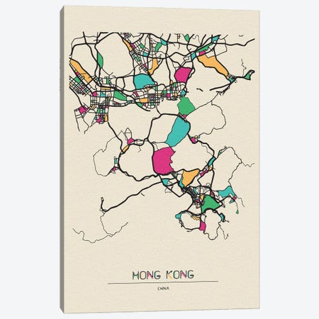 Hong Kong, China Map Canvas Print #ADA260} by Ayse Deniz Akerman Art Print