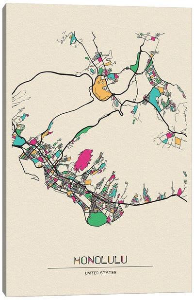 Honolulu, Hawaii Map Canvas Art Print