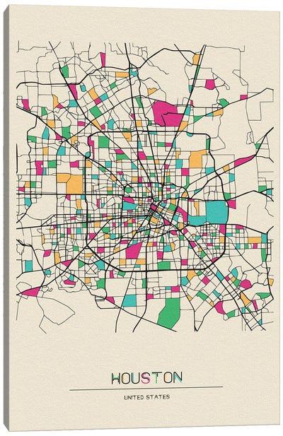 Houston, Texas Map Canvas Art Print