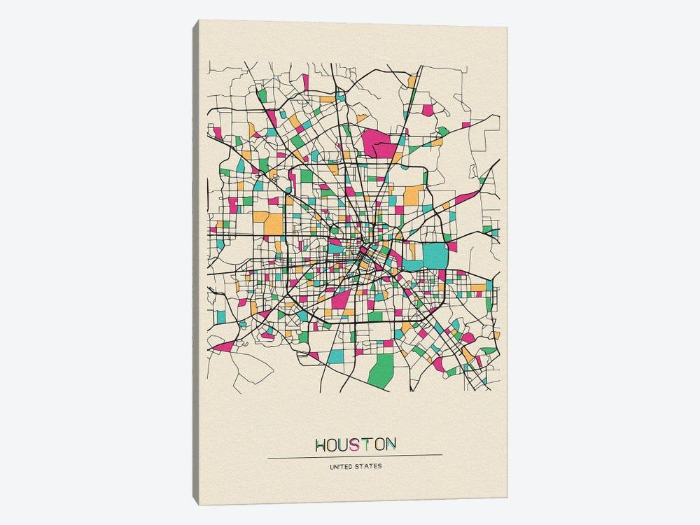 Houston, Texas Map by Ayse Deniz Akerman 1-piece Canvas Art