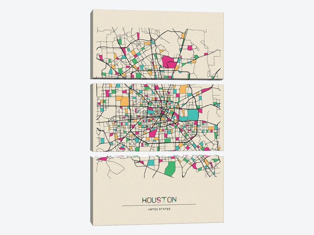 Houston, Texas Map by Ayse Deniz Akerman 3-piece Canvas Art