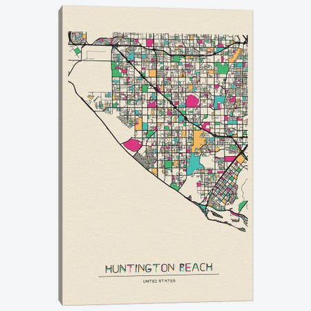 Huntington Beach, California Map Canvas Print #ADA263} by Ayse Deniz Akerman Art Print