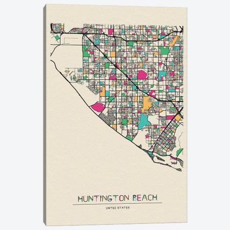 Huntington Beach, California Map Canvas Print #ADA263} by Ayse Deniz Akerman Art Print