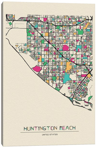 Huntington Beach, California Map Canvas Art Print