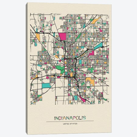 Indianapolis, Indiana Map 3-Piece Canvas #ADA264} by Ayse Deniz Akerman Canvas Wall Art