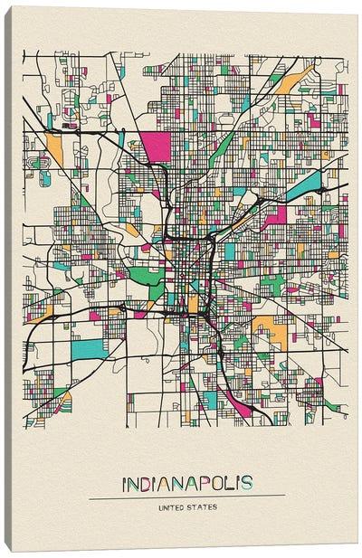 Indianapolis, Indiana Map Canvas Art Print