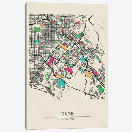 Irvine, California Map Canvas Print #ADA265} by Ayse Deniz Akerman Canvas Wall Art