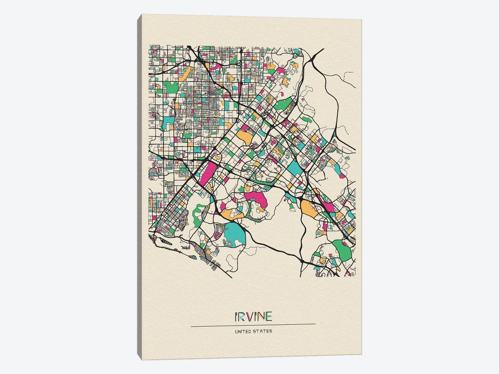 Irvine, California Map by Ayse Deniz Akerman 1-piece Canvas Art Print
