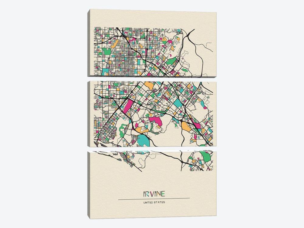 Irvine, California Map by Ayse Deniz Akerman 3-piece Canvas Print