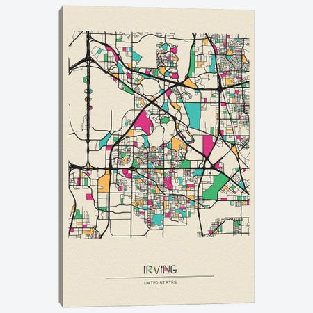 Irving, Texas Map Canvas Print #ADA266} by Ayse Deniz Akerman Canvas Artwork