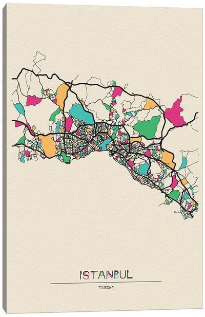 Istanbul, Turkey Map Canvas Art Print