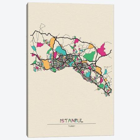 Istanbul, Turkey Map Canvas Print #ADA267} by Ayse Deniz Akerman Canvas Artwork