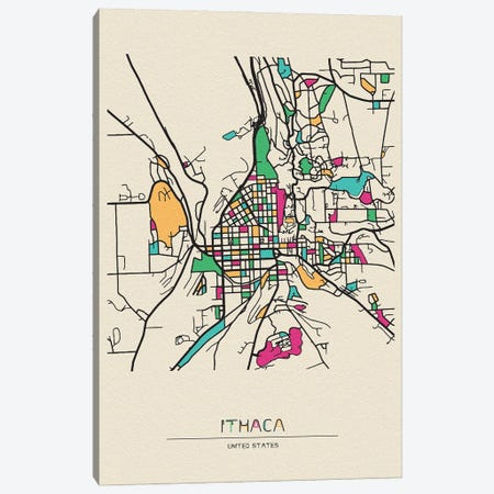 Ithaca, New York Map Canvas Print #ADA268} by Ayse Deniz Akerman Canvas Print