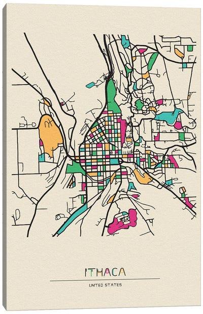 Ithaca, New York Map Canvas Art Print