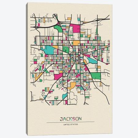 Jackson, Michigan Map Canvas Print #ADA269} by Ayse Deniz Akerman Canvas Art Print