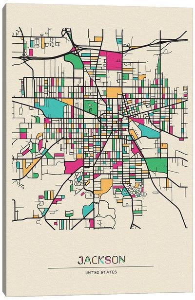 Jackson, Michigan Map Canvas Art Print