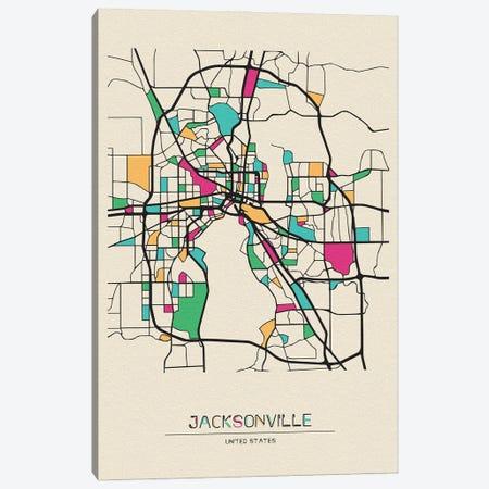 Jacksonville, Florida Map Canvas Print #ADA270} by Ayse Deniz Akerman Canvas Art