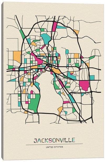 Jacksonville, Florida Map Canvas Art Print