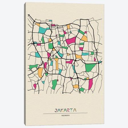 Jakarta, Indonesia Map Canvas Print #ADA271} by Ayse Deniz Akerman Canvas Artwork