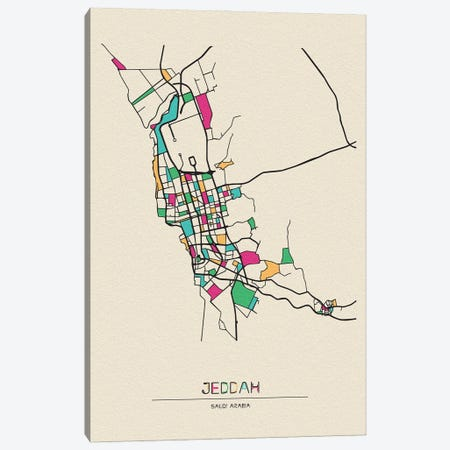 Jeddah, Saudi Arabia Map Canvas Print #ADA272} by Ayse Deniz Akerman Canvas Wall Art