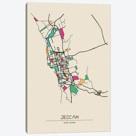 Jeddah, Saudi Arabia Map Canvas Print #ADA272} by Ayse Deniz Akerman Canvas Wall Art