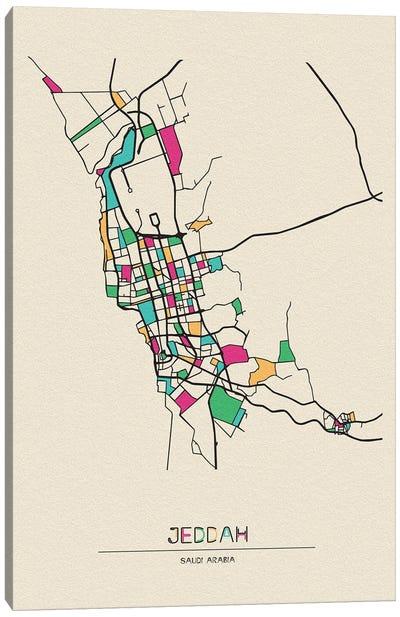 Jeddah, Saudi Arabia Map Canvas Art Print