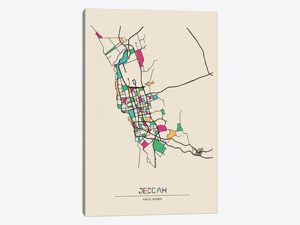 Jeddah, Saudi Arabia Map by Ayse Deniz Akerman 1-piece Art Print