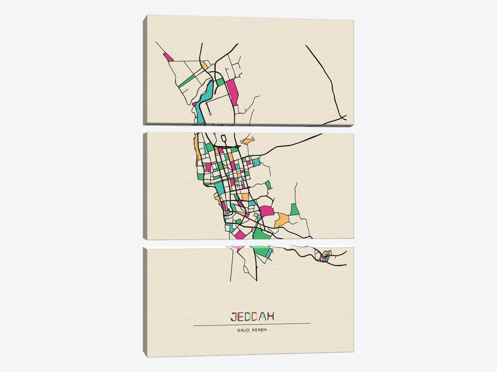 Jeddah, Saudi Arabia Map by Ayse Deniz Akerman 3-piece Canvas Art Print