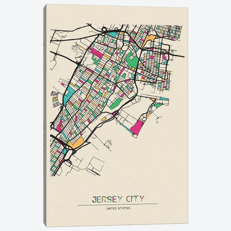 Jersey City, New Jersey Map Canvas Print #ADA273} by Ayse Deniz Akerman Canvas Wall Art