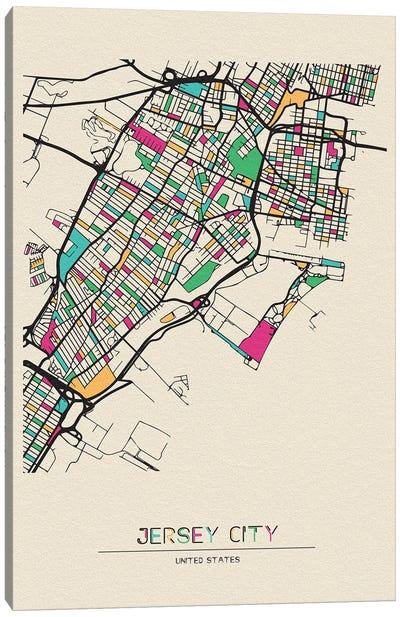 Jersey City, New Jersey Map Canvas Art Print