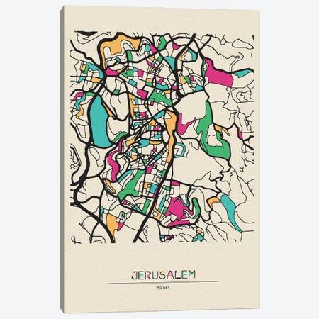 Jerusalem, Israel Map Canvas Print #ADA274} by Ayse Deniz Akerman Canvas Art Print