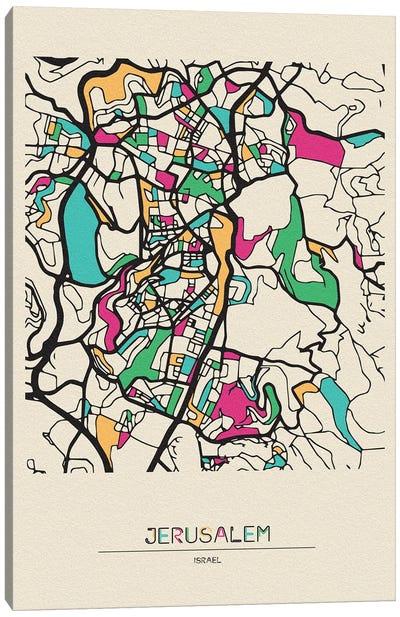 Jerusalem, Israel Map Canvas Art Print