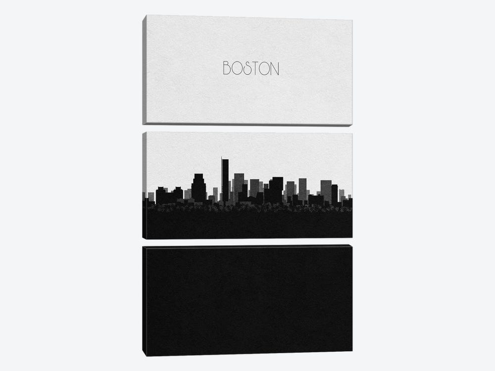 Boston, Massachusetts City Skyline by Ayse Deniz Akerman 3-piece Canvas Print