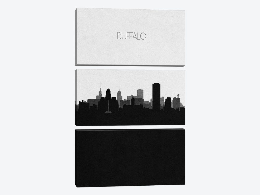Buffalo, New York City Skyline by Ayse Deniz Akerman 3-piece Canvas Wall Art