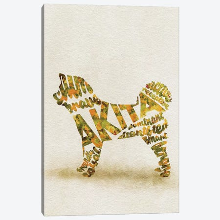 Akita Inu Canvas Print #ADA2} by Ayse Deniz Akerman Art Print