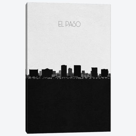 El Paso, Texas City Skyline 3-Piece Canvas #ADA320} by Ayse Deniz Akerman Canvas Artwork