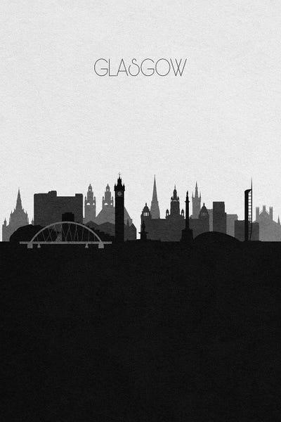 "Print on Canvas Landmarks skyline city of Glasgow Scotland 30x20/"""
