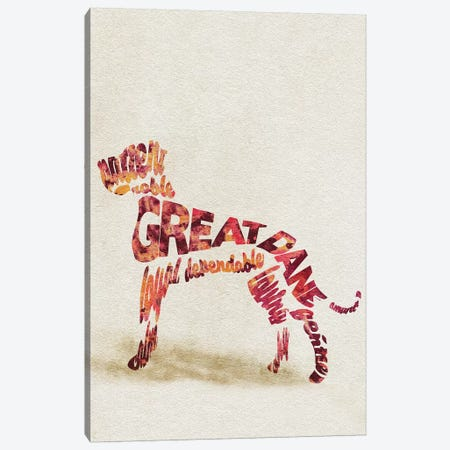 Great Dane Canvas Print #ADA32} by Ayse Deniz Akerman Canvas Artwork