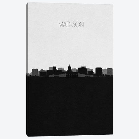 Madison, Wisconsin City Skyline Canvas Print #ADA357} by Ayse Deniz Akerman Canvas Wall Art