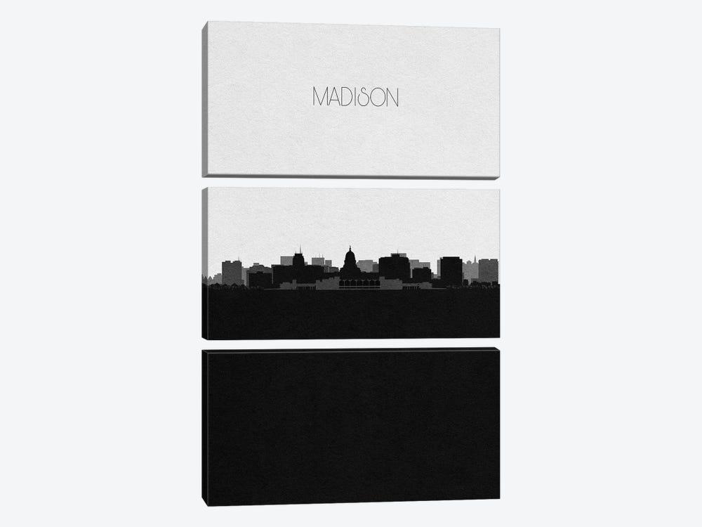 Madison, Wisconsin City Skyline by Ayse Deniz Akerman 3-piece Canvas Print