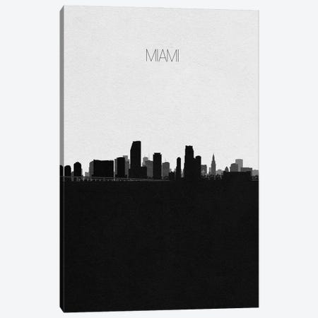 Miami, Florida City Skyline 3-Piece Canvas #ADA367} by Ayse Deniz Akerman Canvas Print